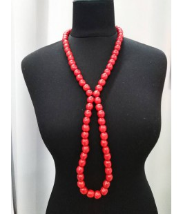 Necklace red long with a bracelet (strung on a rubber band)
