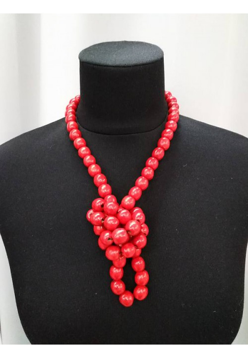 Long red necklace (strung on an elastic band)