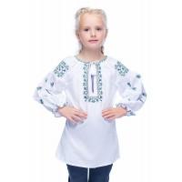 Радуга, блузка-вышиванка для девочки из батиста
