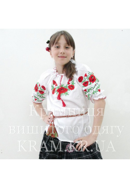 Poppy dew, embroidered shirt for girls