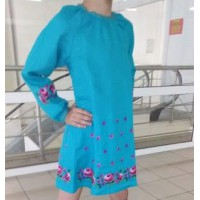Rose, embroidered shirt for a girl, a dress made of turquoise linen with a belt