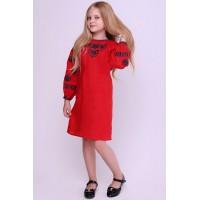 Малиновый цвет, льняное малиновая, вышитое платье для девочки