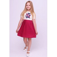 Fuchsia, embroidered dress embroidery for a girl