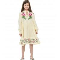 Піона, сукня лляна для дівчинки з довгим рукавом