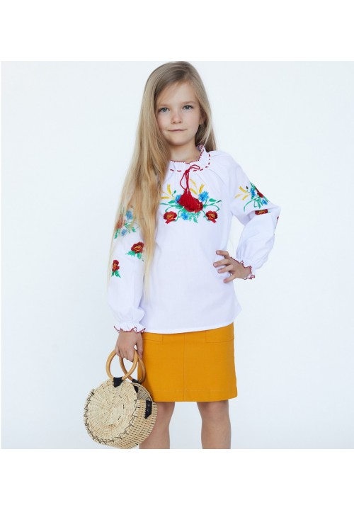 Cornflower field, embroidered shirt for a girl