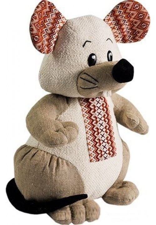 Mouse Levko, a toy with embroidered geometric patterns