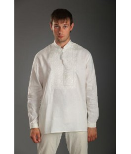 MEN'S SHIRT WITH EMBROIDERY BILOSVIT WHITE