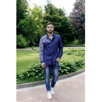 Sultan, men's blue embroidered shirt