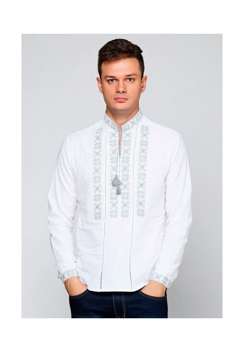 Dawn is white, and men's white embroidered shirt on white