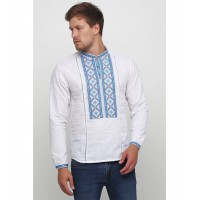 Svyatomir, men's white embroidered shirt