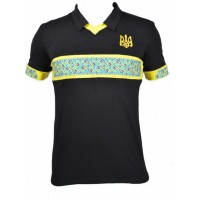 Україна,, чорне поло,чоловіча вишита футболка