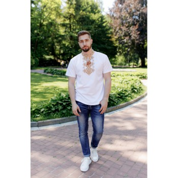 Desirable, men's embroidered T-shirt, white with gold