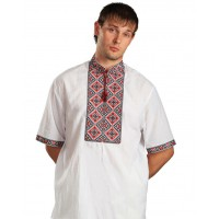 Svyatoslav, men's embroidered shirt with short sleeves