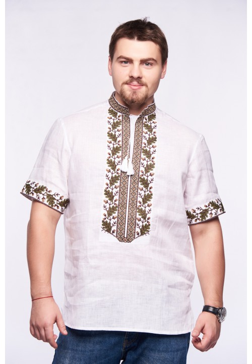 Oak, men's embroidered shirt with short sleeves
