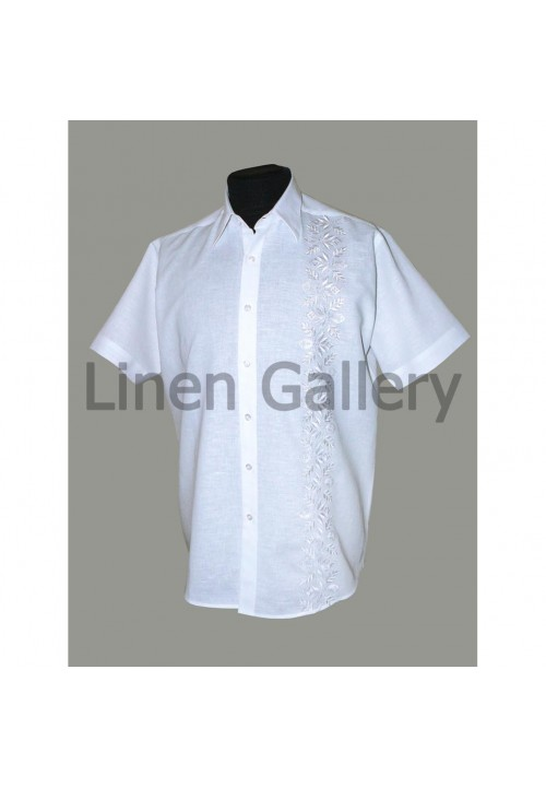 Chyhyryn, white linen shirt with white embroidery