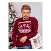 Зорян, свитер мужской вязаный, красного цвета