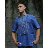 Віктор, сорочка з бавовни з блакитно-синьою вишивкою, рукав короткий