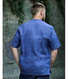 Victor, men's linen shirt with blue embroidery, sleeve: long