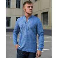 Volopas, a modern men's embroidered shirt with blue embroidery