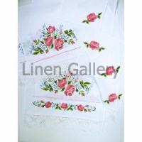 Троянда з мережкою, комплект весільний лляний