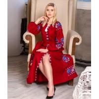 Паризький букет, сукня червона з вишивкою