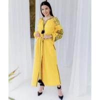 Злата, сукня жовта довга з вишивкою