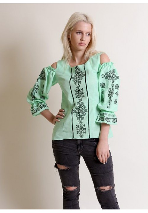 Aura of flowers, women's embroidered shirt
