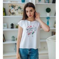 Love is, жіноча вишита футболка біла