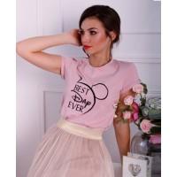 Мікі, рожева жіноча вишита футболка