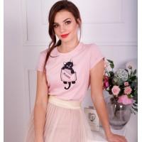 Мурр, рожева жіноча вишита футболка
