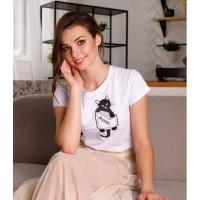 Мурр, жіноча вишита футболка біла