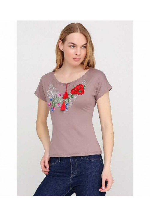 Poppies, women's embroidered T-shirt