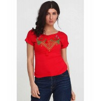 Flowers, women's embroidered T-shirt