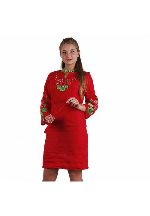Mallow, red embroidered dress