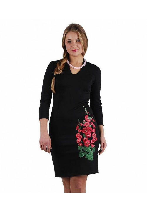 Mallow, knitted women's dress with embroidery