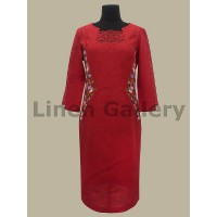 Dewy, red embroidered dress