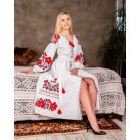 Паризький букет, сукня біла з червоною вишивкою