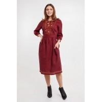 Сола, сукня лляна жіноча з вишивкою, червоне вишите плаття