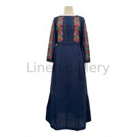 Ешлі, синя вишита лляна сукня