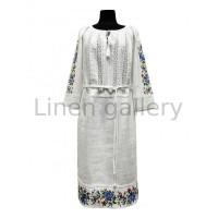 Вирлиця, сукня лляна з кишенями, прикрашена мережкою та вишивкою