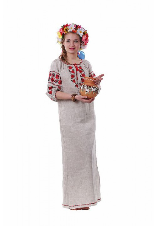 Rose, women's embroidered dress made of linen