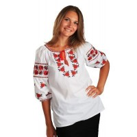 Rose on a lawn, women's embroidered shirt