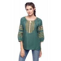 Boguslava green, women's embroidered shirt