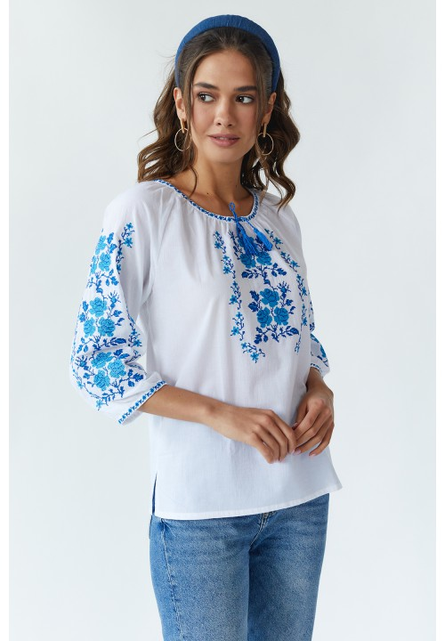 Bouquet of roses, blouse batiste with blue embroidery