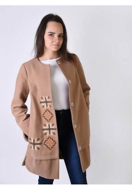 Star, women's coat with embroidery