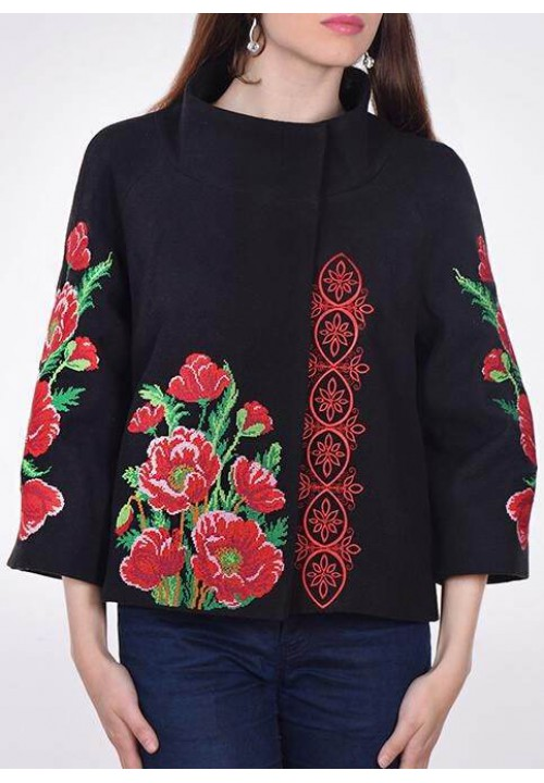 Poppy color, jacket with embroidery