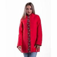 Барви червоне, пальто з вишивкою